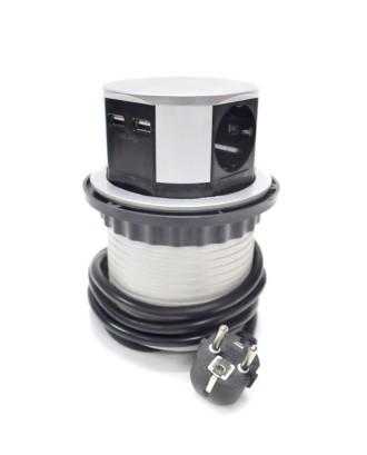 4 pusių USB ištraukiamas stalnis elektros lizdas